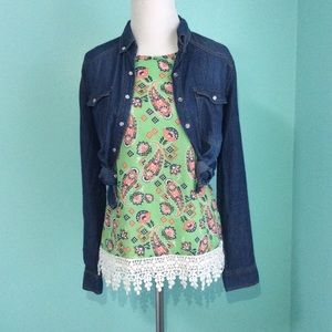 Paisley Print Shell with lace Trim